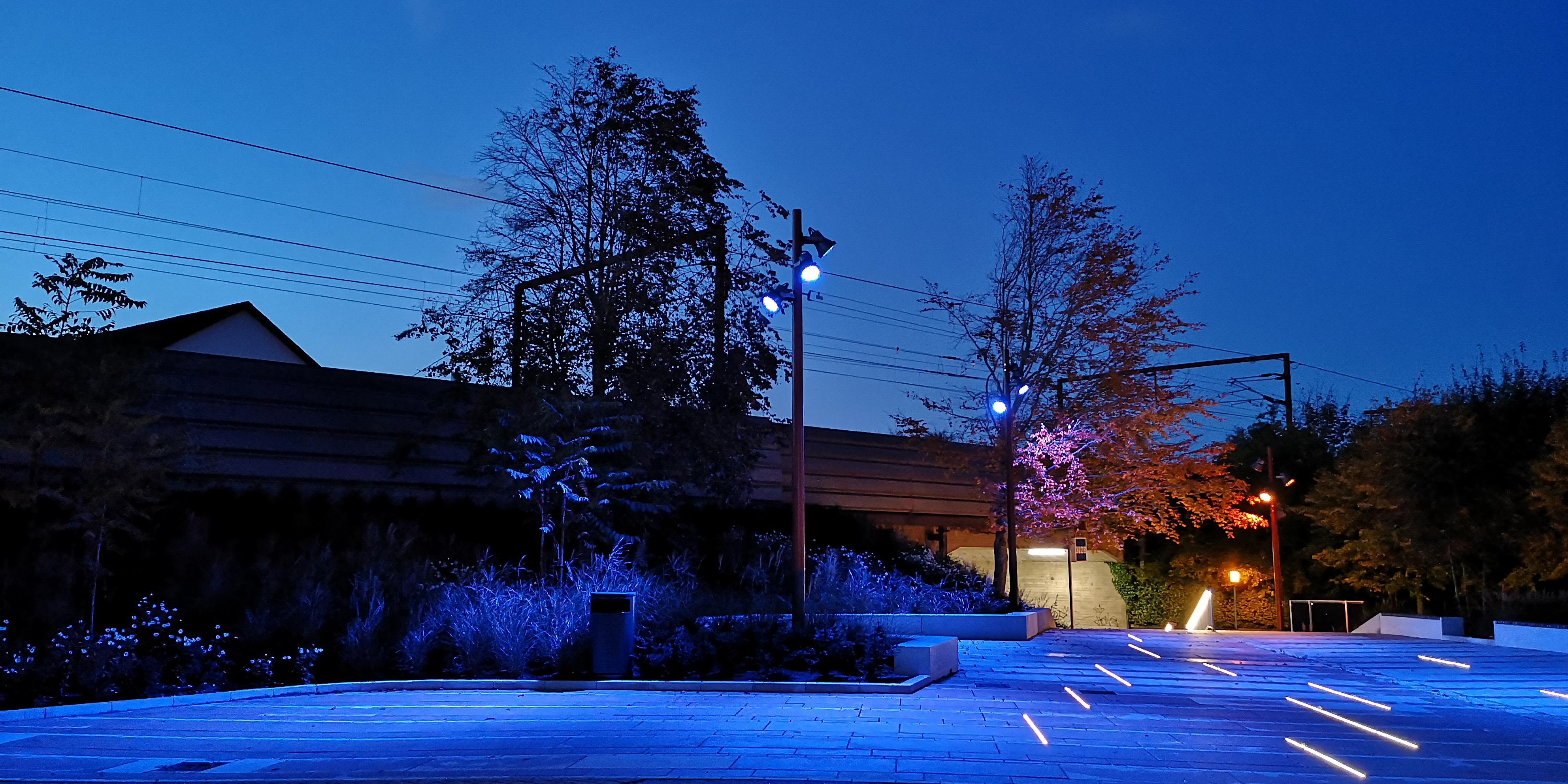 Kinotorv blåt lys aften MOOS LANDSKABER