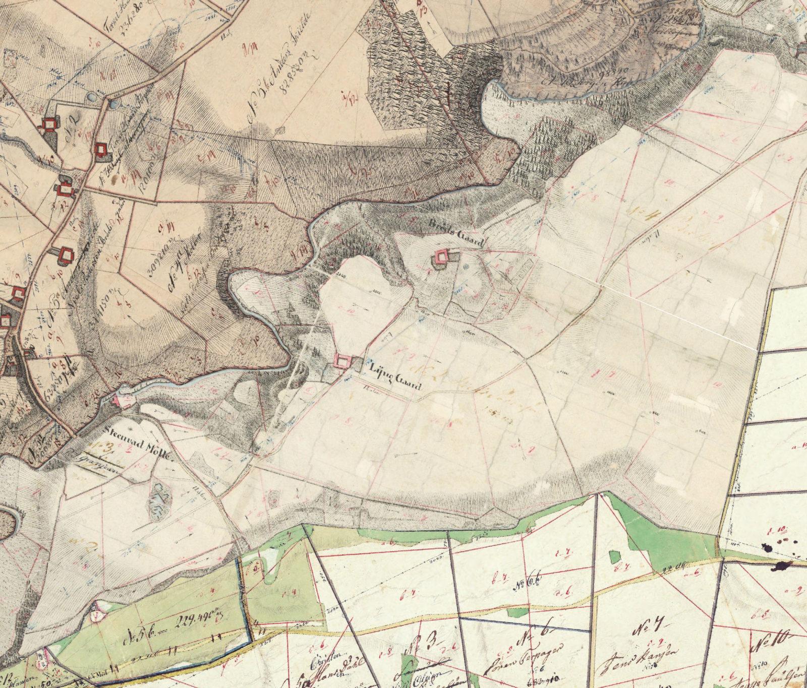 Landbomuseet Kolding historisk kort MOOS LANDSKABER_år 1821